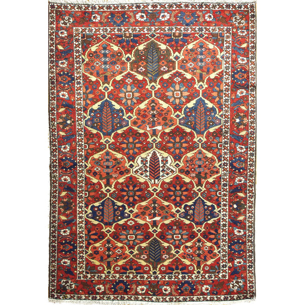 ANTIQUE BAKTIARI PANELS WOOL TRADITIONAL RUG 4'8''X6'9''