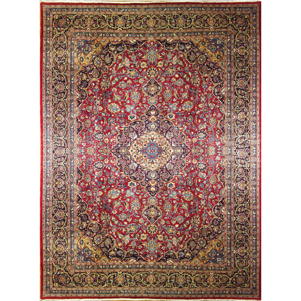 KASHMAR MEDALLION WOOL TRADITIONAL RUG 9'9''X13'