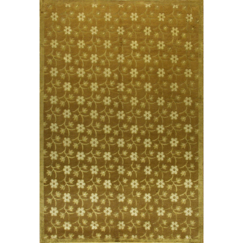 NEPALI MODERN SILK & WOOL CONTEMPORARY RUG 6'X9'