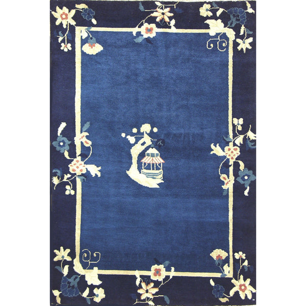 65337 ANTIQUATED NICHOLS STYLE WOOL RUG 4'X6'