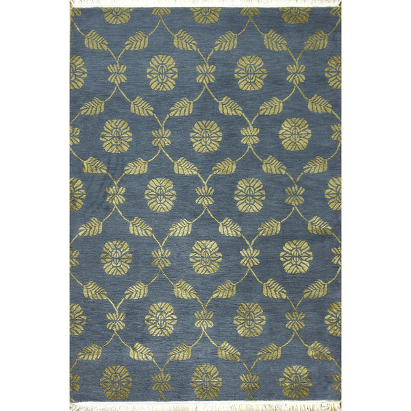 65338 NEPALI SILK & WOOL CONTEMPORARY RUG 4'X6'