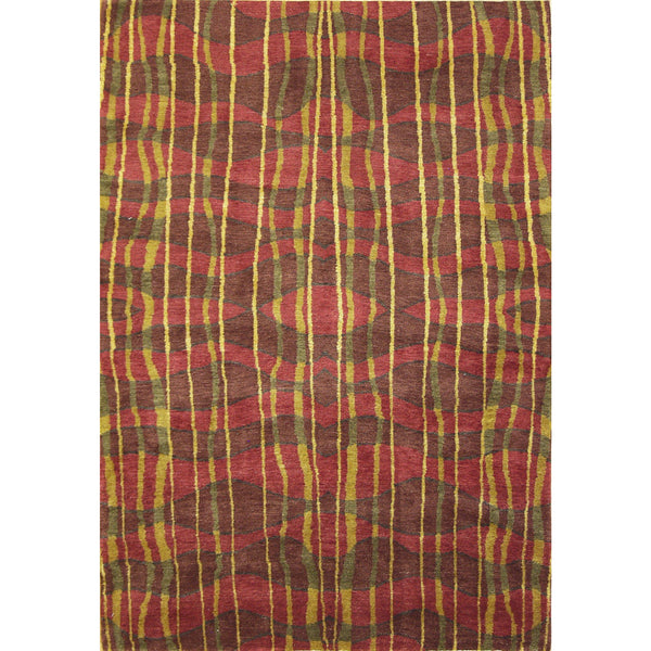 65362 NEPALI MODERN SILK & WOOL CONTEMPORARY RUG 4'X6'