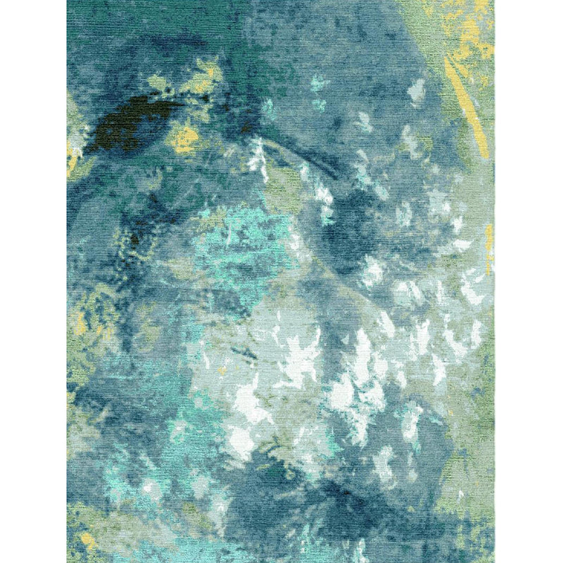 Abstract Blue Green Custom Area Rug
