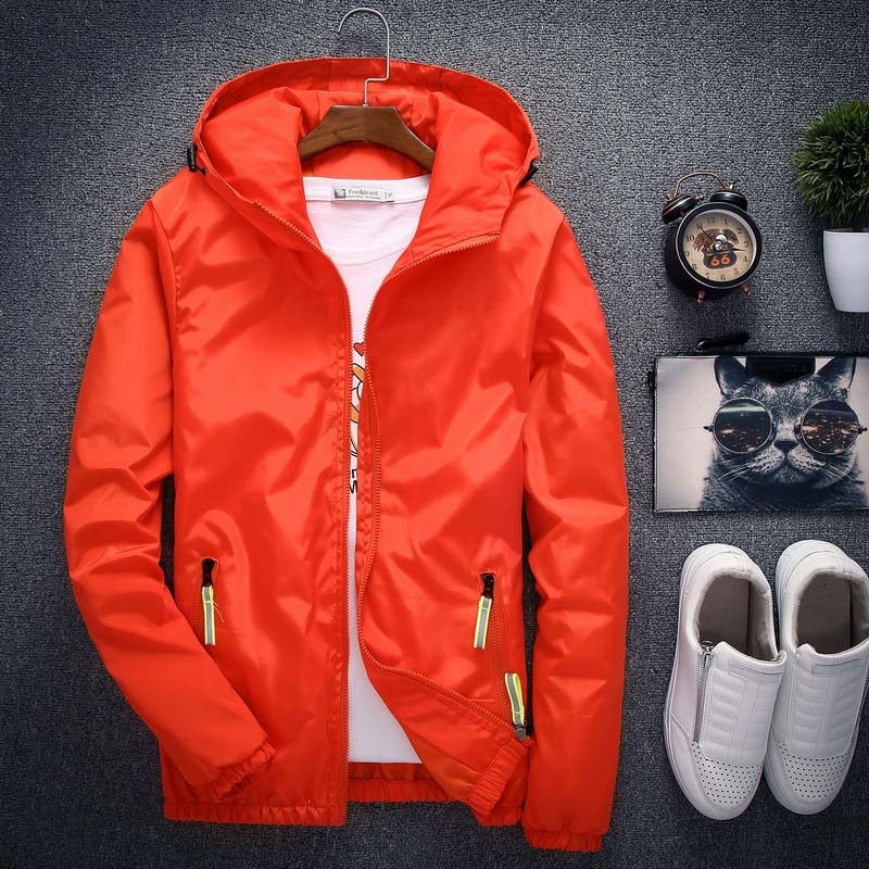 Size 6XL 5XL 7XL 2018 Spring Autumn Young Men Windbreaker Hooded Jacket Slim Thin Clothing Top Quality Waterproof Plus Size K316