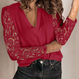 Women V-neck Lace Hollow Out Blouse