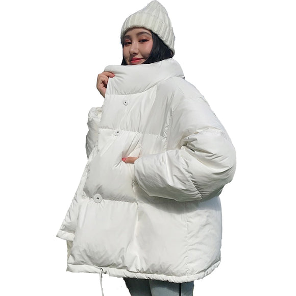 Solid White Female Coat Loose Short Parka