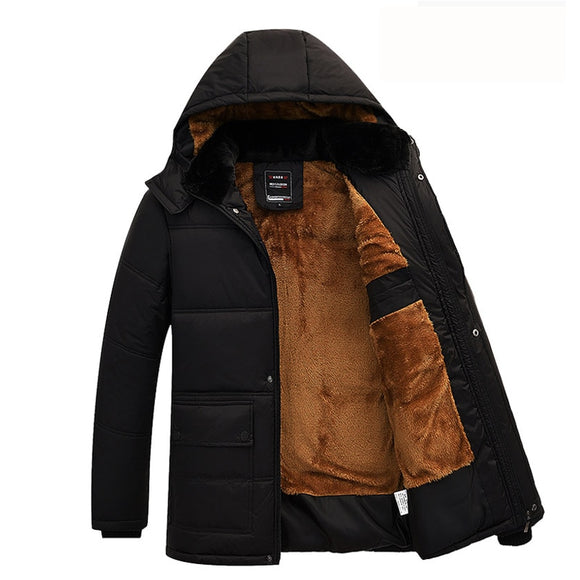 Men Jacket Coats Thicken Warm Winter Windproof Parka Hooded