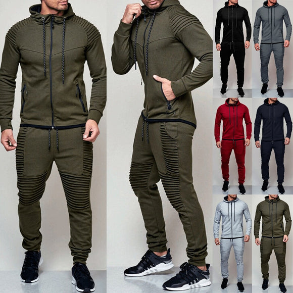 2 pieces Autumn Running tracksuit men Sport Wear