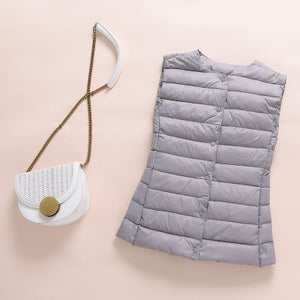 Single-breasted Sleeveless Women Waistcoat Puffy Padded Warm Vest Jacket