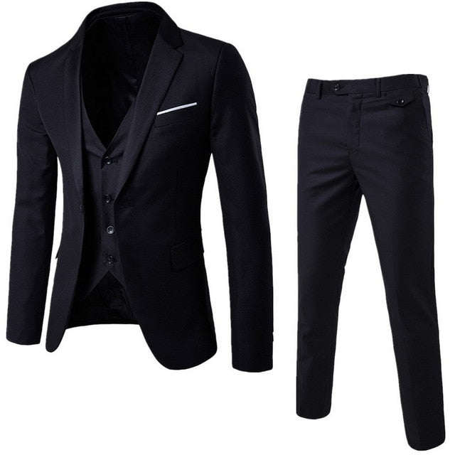 3 Pieces Sets Business Blazer +Vest +Pants Suit