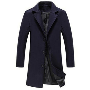 single-breasted windbreaker Wools Plus size casual Mens Coat