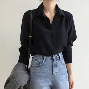 Women Solid Black Chiffon Blouse Long Sleeve
