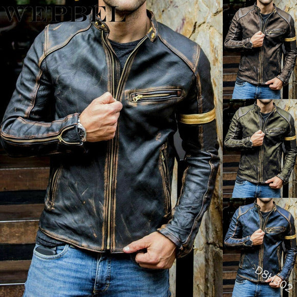 Men's Fashion Faux Leather Stand Punk Motorcycle Jacket Autumn