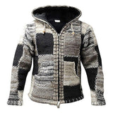 Men Winter Fashion Patchwork  Knitted Outwear Coat