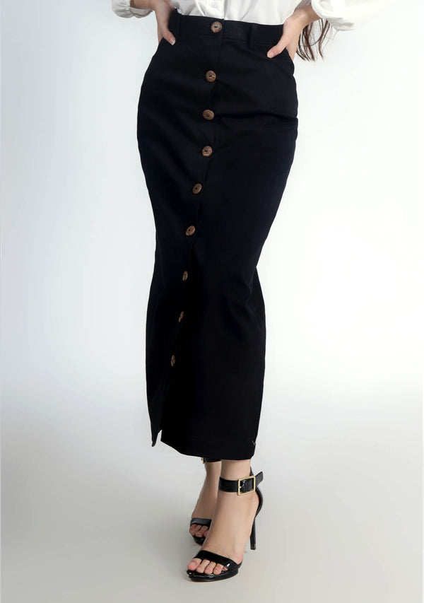 Front Button Skirt - Black