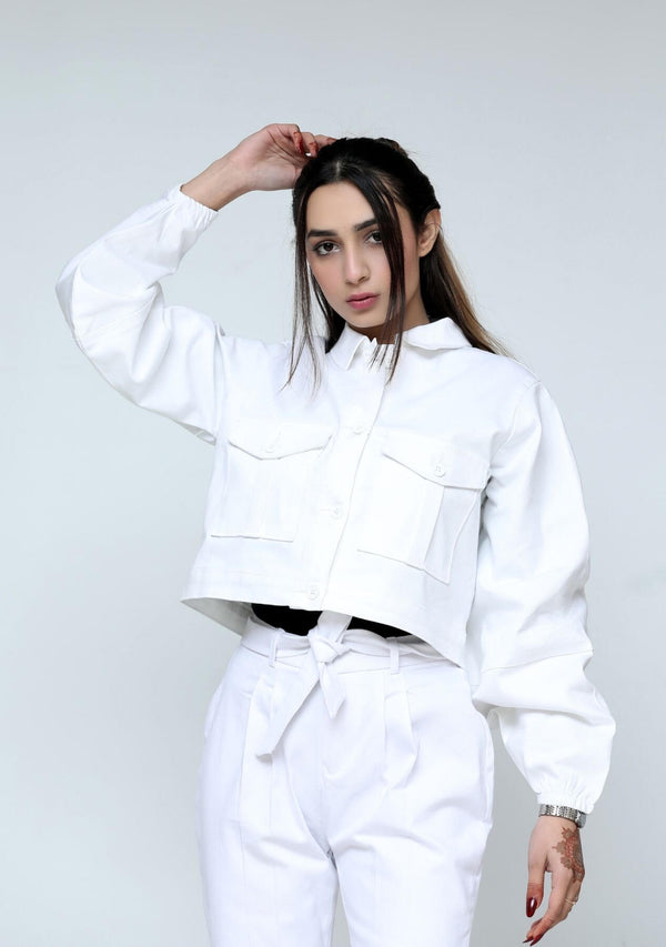 Cropped jacket with balloon sleeve - white