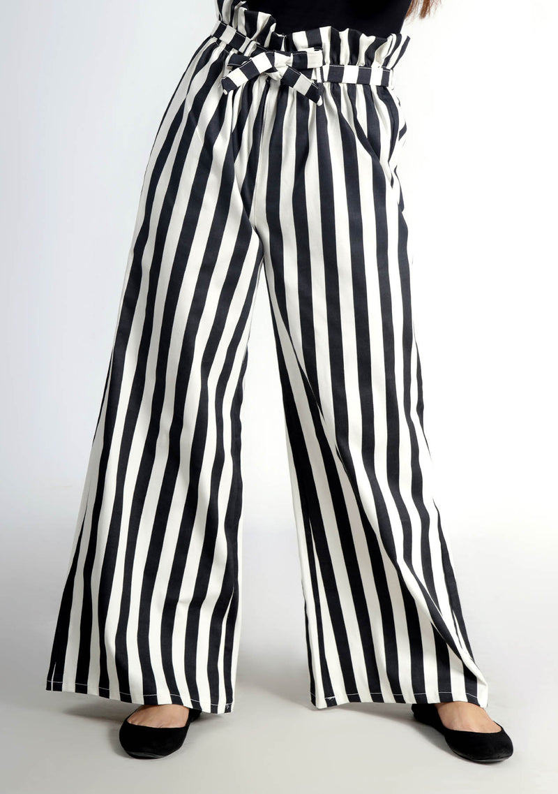 Wide Leg Paper Bag Pant - Black and White Striped