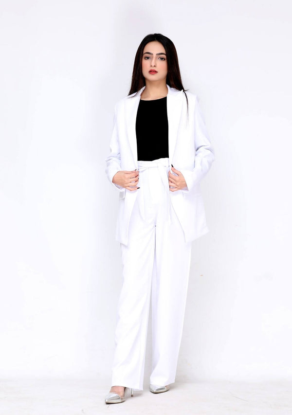 High rise wide leg pant in white polyester