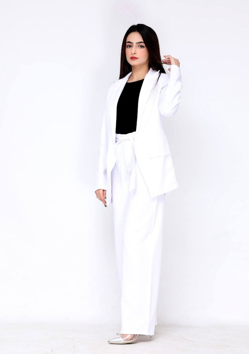 Long blazer in white polyester