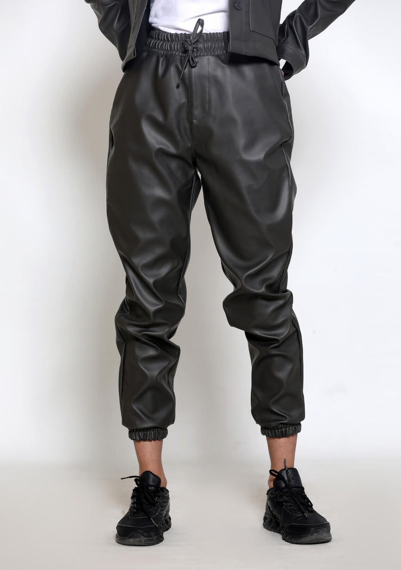 Jogger Pant in Faux Leather - grey