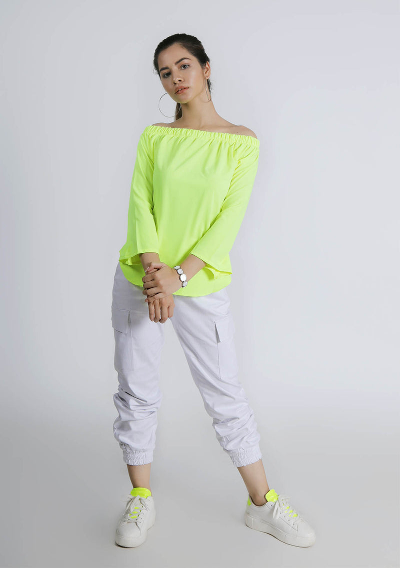 Off Shoulder Top in Neon