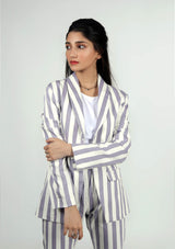 Blazer in Blue and White Striped