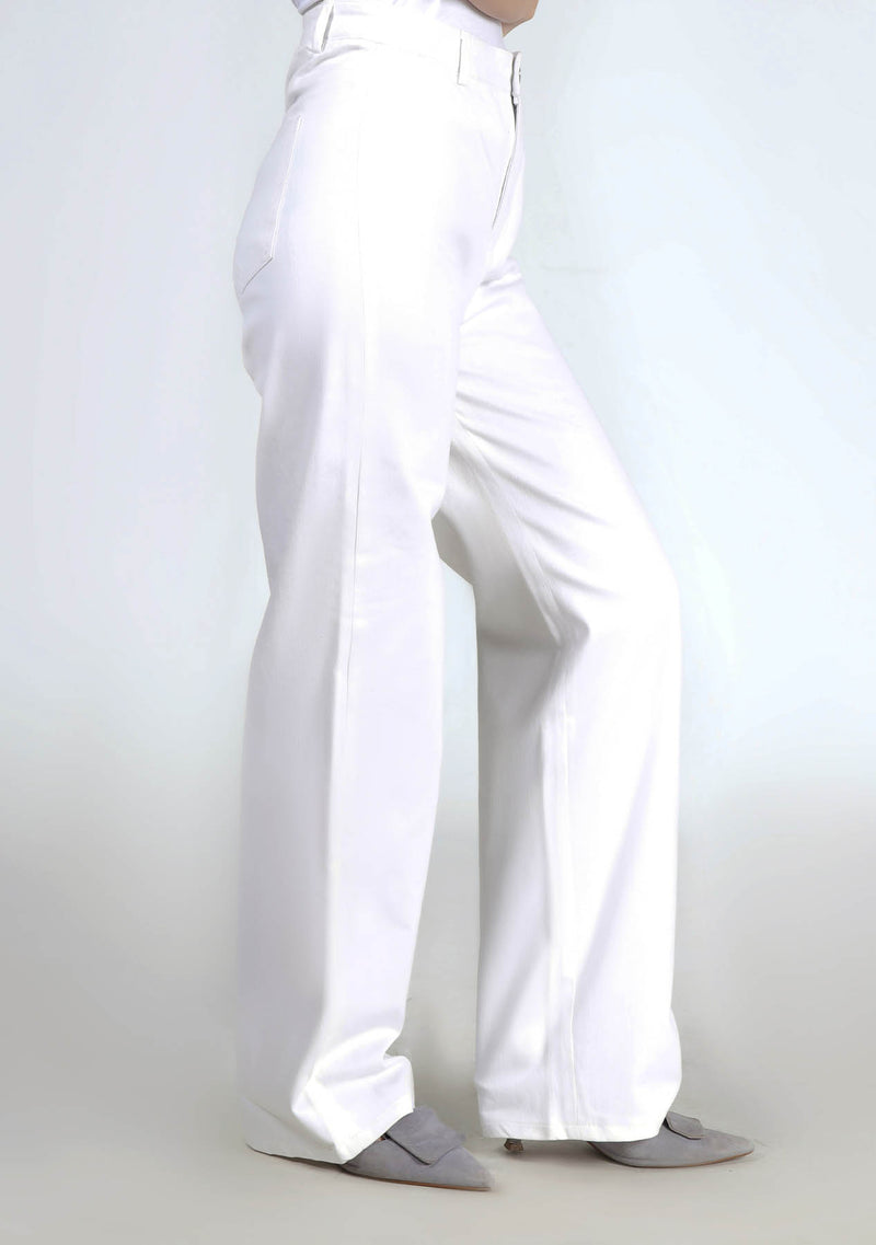 High Rise Wide Leg Pant in White