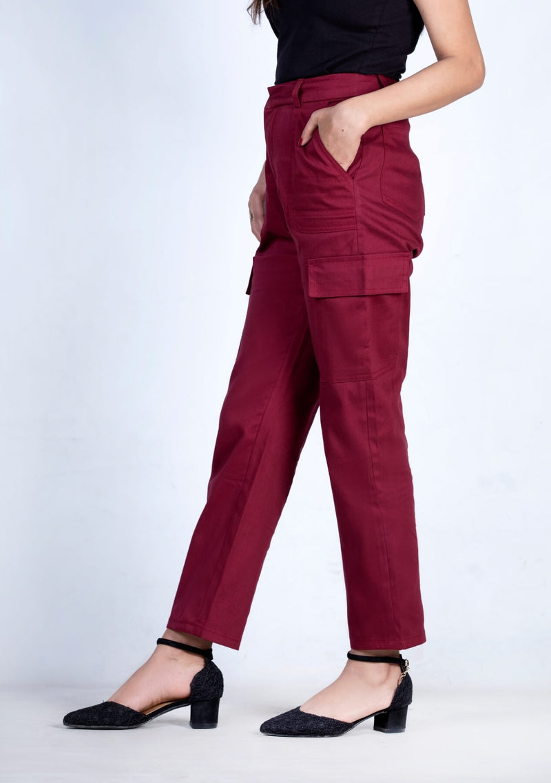 Cargo pant with patch pocket - maroon