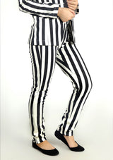 Straight Pant in Black and White Striped
