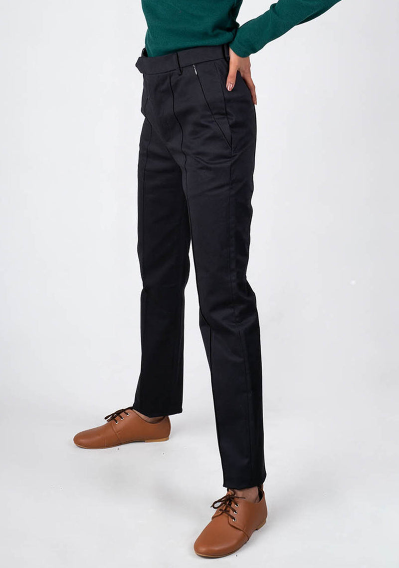 Straight Fit Pant in Black - cross zip pocket