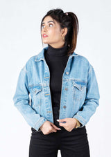 Cropped Denim Jacket - Light Blue