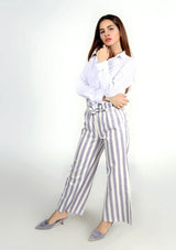 Wide Leg Paper Bag Pant - Blue and White Striped