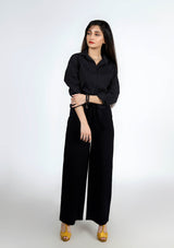 High Rise Wide Leg Pant in Black - cotton stretch