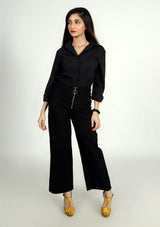 Wide Leg Pant in Black with Front Zip