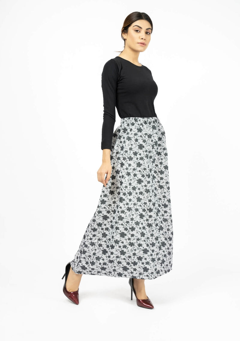 Elasticated Skirt - White Black Printed