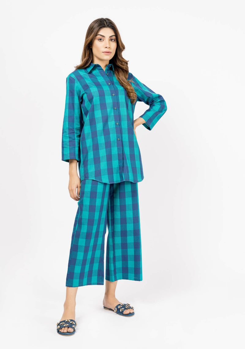 Flowy Trouser - Green Blue Plaid Check