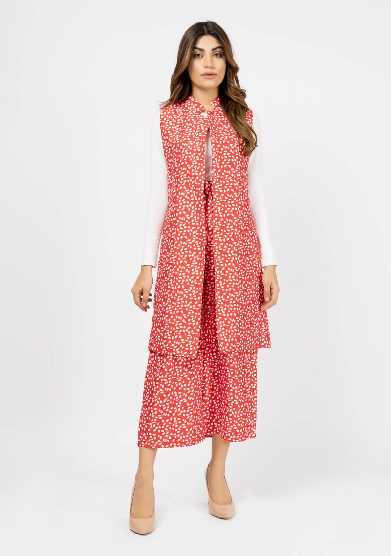 Sleeveless Long Waist Coat - Red & White Printed