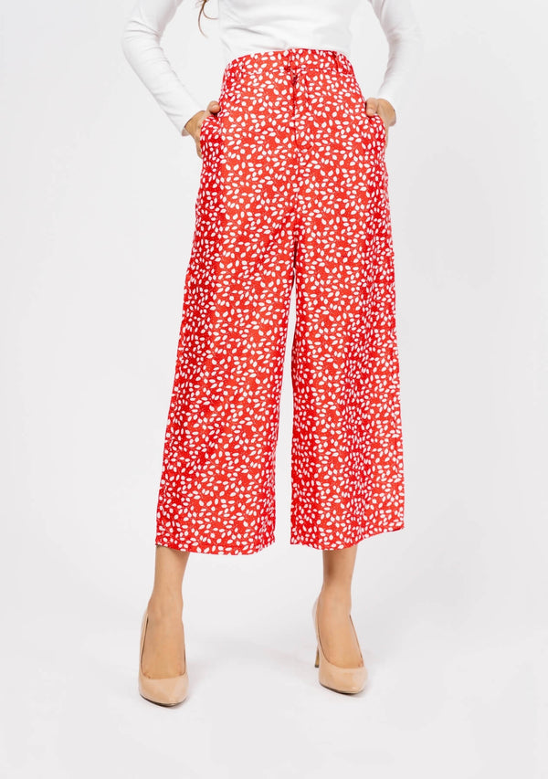 High Waisted Culotte - Red & White Printed