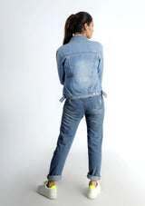 Ripped Denim Jacket - Light Blue