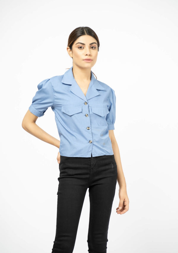 Short Sleeve Blouse - Sky Blue