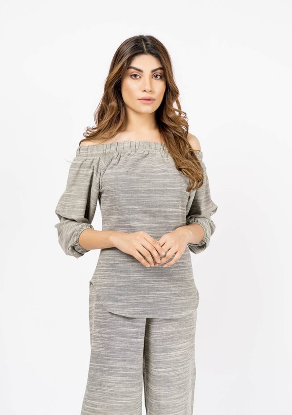 Off Shoulder Top with Elasticated Cuff - Grey White