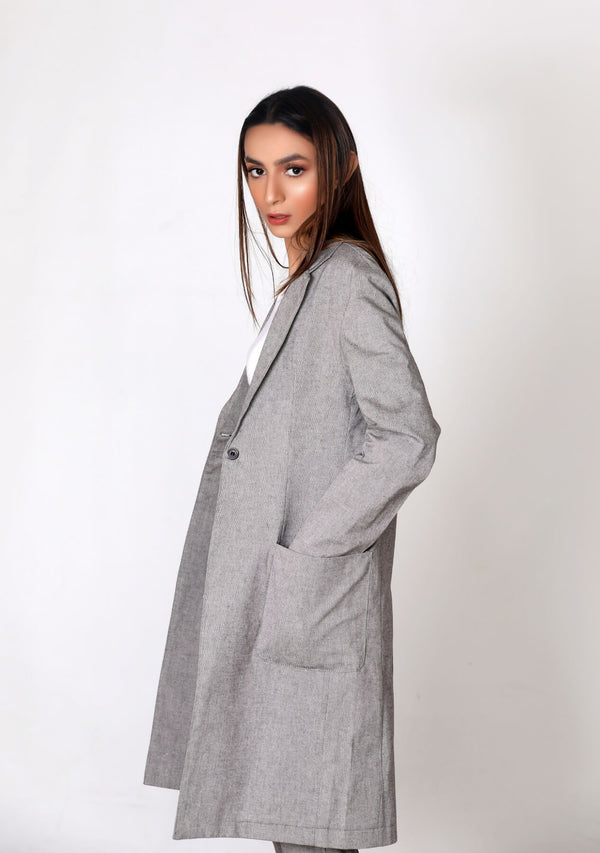 Long coat with patch pocket - grey