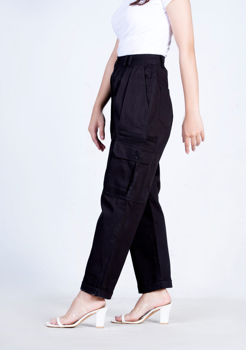 3 Pleated Cargo Pant - black