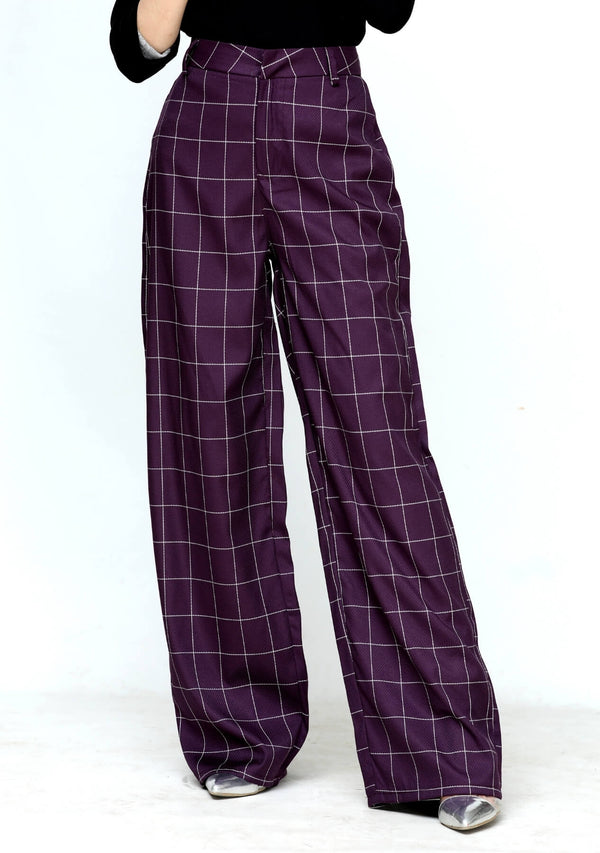 High rise wide leg pant in purple check