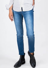 High Waisted Skinny Jeans in mid blue