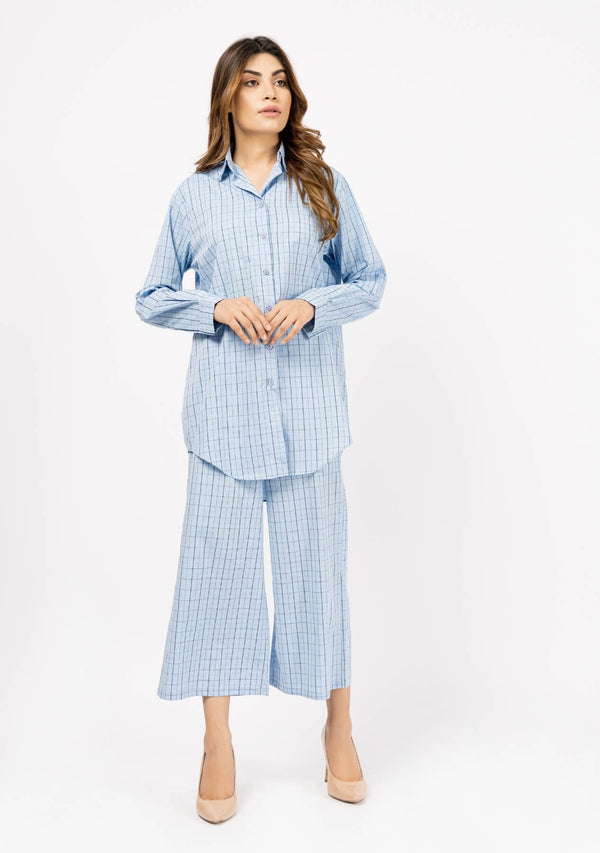 Oversized Flowy Shirt - Light Blue Window Pane Check