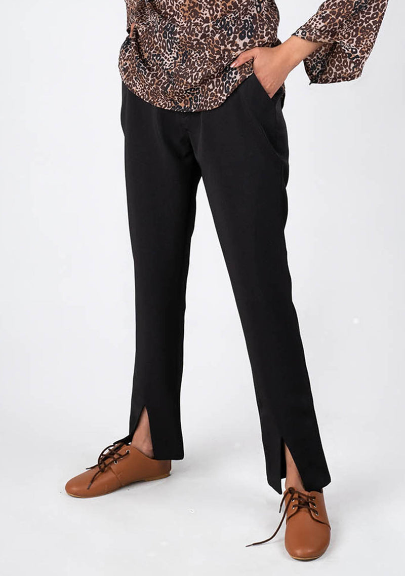 Slit Hem Pant in Black