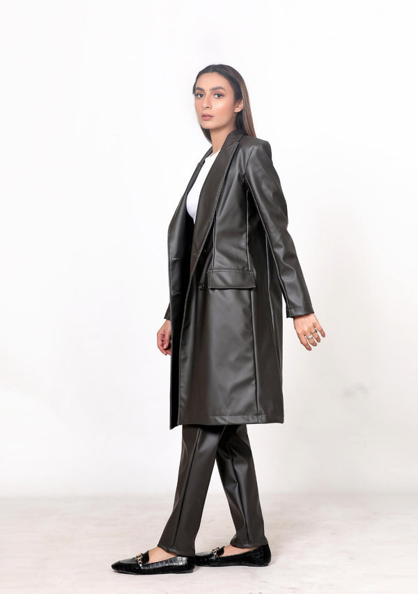 Trench coat in faux leather - grey