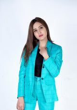 Blazer in sea green check