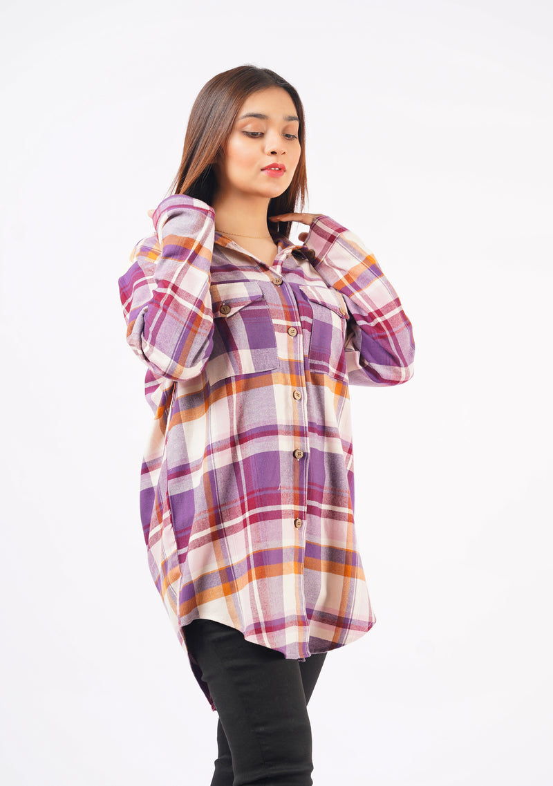 Straight Pant in Sky Blue Grid Check